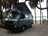 Vokswagen Vanagon camping on the beach