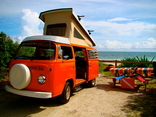 Beach camping in a VW Bus