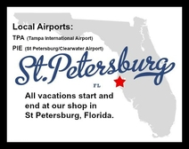 Map with location of St Petersburg, FL